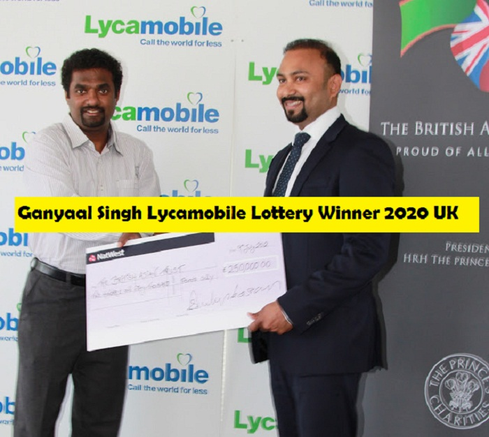 Ganyaal Singh Lycamobile Lottery Winner 2020 UK